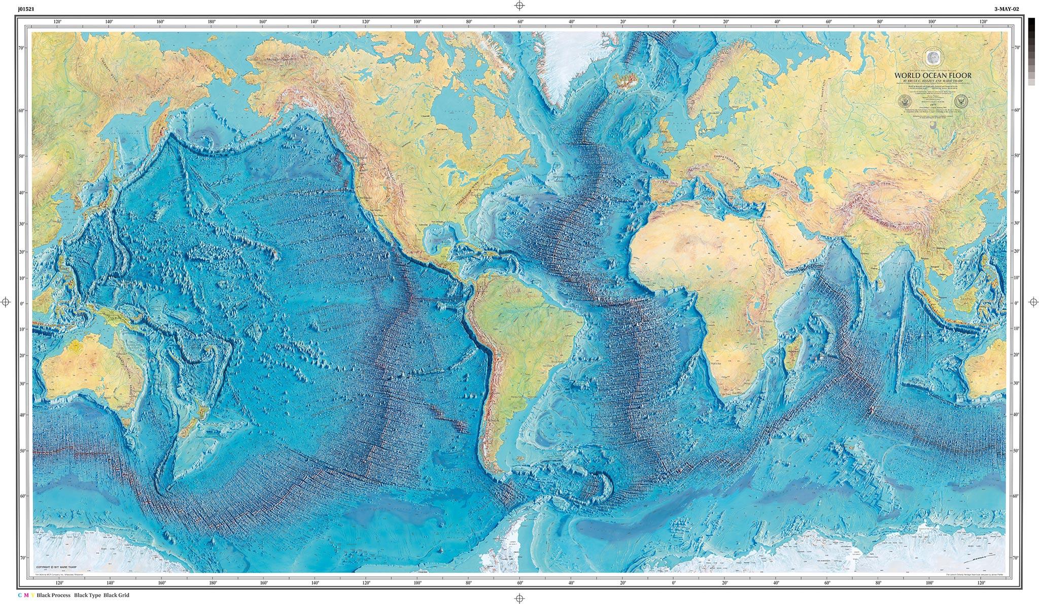 Ocean Floor Elevation : The first map of depths