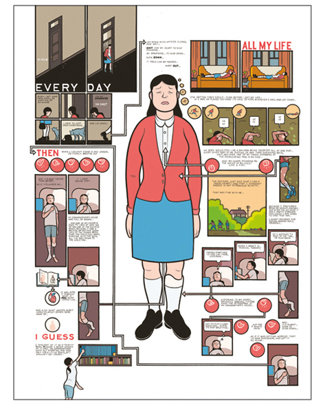 Mechanical colour by Chris Ware, from Building Stories