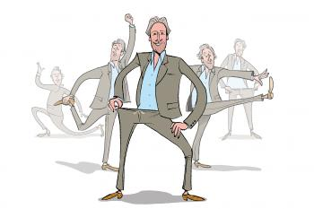 Illustration of Luke Leitch in stretchy elastic trousers by Bill Brown